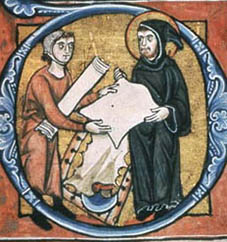 Monks in a scriptorium